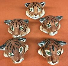 ● Vintage Unusual Lot of 4 Fine Bone China Napkin Rings Tigers Lions Philippines