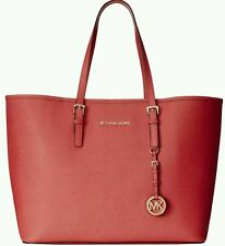 Michael Kors Leather Jet Set Travel Tote Watermelon red Medium GORGEOUS Shoulder