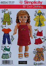 "Simplicity 4654 Sewing PATTERN for 18"" American Girl DOLL CLOTHES 7 Outfits NEW"