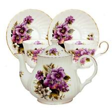 Purple Pansy Bone China Tea Set For Two Made In England