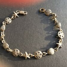 VINTAGE - STERLING SILVER BRACELET - STAR FISH, SAND DOLLARS AND CLAMS