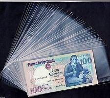 """Lot 50 Transparent & Clear Plastic Banknote Sleeves Size 3.23 """"  X  7 """""""