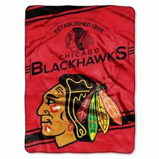 Chicago Blackhawks 60x80 Plush Raschel Throw Blanket - Stamp Design [NEW] NHL