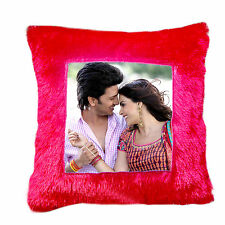 Red Square pillow personalized gift with photo birthday. marriage, Valantine