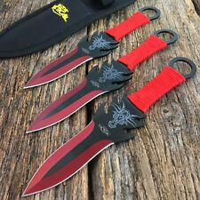 "3 PC 7.5"" Ninja Tactical Combat Naruto Kunai Throwing Knife w Sheath Set RED"