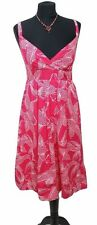 M&S Dress Size 12 Hot Pink & White L41IN SunDress Cotton Casual