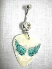 TURQUOISE BLUE OPEN ANGEL WINGS PRINTED GUITAR PICK JEWELRY CLEAR CZ BELLY RING