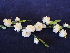 Vintage Millinery Flower Wild Rose Spray White Silk for Hat Wedding + Hair NH8