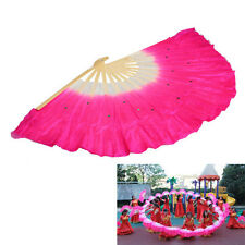 Rose Red Handmade Colorful Belly Dance Dancing Silk Bamboo Long Fans Veils