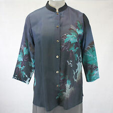 NEW NWT Citron Clothing Fall Winter Plus Size Teal Floral Button Down Blouse 2X