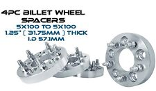 "4 5x100 MM Wheel Spacers Adapters 1.25"" Billet Aluminum 57.1 Hub Bore Fast Ship"
