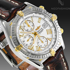 BREITLING CROSSWIND 18K GOLD/SS 43MM BEAUTIFUL RARE WHITE DIAL MENS WATCH B13055