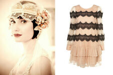 TOPSHOP 1920's Nude & Black Lace Flapper Gatsby Inspired Smock Dress Size 10