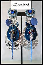 Grandes boucles d oreilles BIJOUX IKITA PARIS creole bleu goutte fleurs nacre