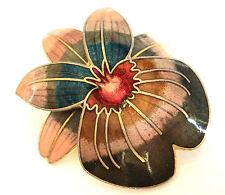 c.1980s PINK BLUE GREY ENAMEL Cloisonne LILY FLOWER BROOCH Vintage Layered