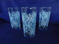 "SNOWFLAKE Libbey BEVERAGE Glass or TUMBLERS - SET of THREE (3) 6-1/4"" tall"