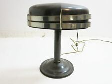 GREAT MID CENTURY ELECTRIC DESK LAMP WITH DUAL CHROME ACCENT STRIPES