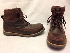 Skechers Brown Leather Boots Faux Fur Lined Hiking Fashion Men's Size 8