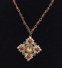 Gold Crystal Rhinestone Brown Beaded Cross  Necklace Chain