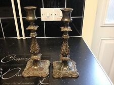"Beautiful Pair Of 10"" Sheffield Silver Plated Antique Designer Candle Sticks"