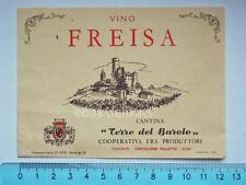 Vecchia etichetta old label vino wine FREISA Barolo Castiglione Falletto Alba