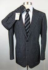 New BRIONI Palatino Navy Stripe Raw Silk Mohair 2Btn Suit 52 42 42L NWT $4995!
