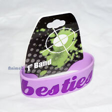 Purple rubber silicone wrist band with the word Beasties engraved wristband