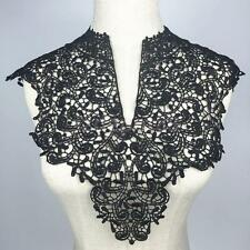 Floral Crochet Lace Collar Venise Motif Applique Guipure Patches Trim Black