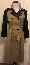 ZARA Woman Trench Coat Camel Beige Faux Leather Size Large L