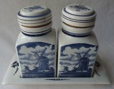 DELFT BLAUW HOLLAND VELSEN PAIR OF SPICE JARS / CANISTERS WITH HOLDER TRAY