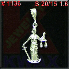 # 1136 Lady Justice Law Offices Charm Pendant Jewelry 925 Sterling Silver