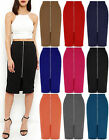 NEW WOMENS LADIES PONTE PENCIL LONG FRONT ZIP MIDI SKIRT BODYCON CASUAL TUBE