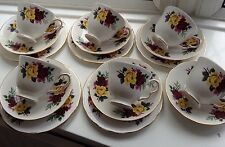 VINTAGE BONE CHINA TEASET RED YELLOW ROSES 17pcs