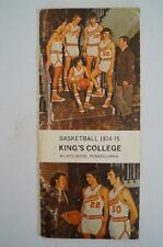 Vintage Basketball Media Press Guide Kings College 1974 1975