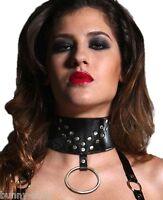 7cm breites BLACK Glatt LEDER Halsband mit NIETEN Ringen und Druckknöpfen Collar