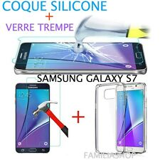Coque housse transparent gel silicone souple samsung galaxy S7 + 1 verre trempé