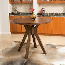Traditional Round Counter Height Brown Solid Wood Dining Table