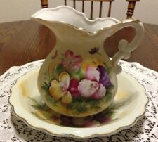 Lefton China 3 Piece Set, Pitcher, Bowl, and Plate Hand Painted w/ Pansies