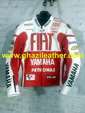 YAMAHA FIAT MEN MOTORCYCLE LEATHER RACING JACKET RED & WHITE AVAILABLE ALL SIZES