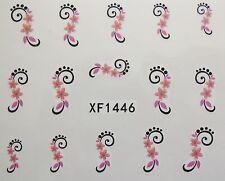 Accessoire ongles, nail art , Stickers décalcomanie, fleur rose et orange