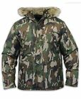 Kangol Mens Camo Parka Jacket Ripstop Fabric Padded Lined Fur Hooded Winter Coat