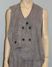 PRISA EUROPEAN LAGENLOOK ASYM SPRING LINEN BUTTON POCKET VEST WASHED TAUPE $199