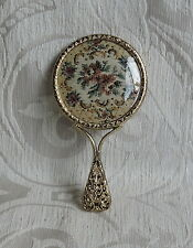 Specchietto da borsetta in ottone decorato c 1950 Vintage Brass Miniature Mirror