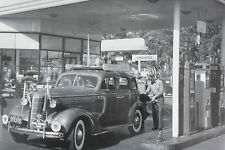 "12 By 18"" Black & White Picture 1938 Chevrolet 4 door at Texaco Gas Station"