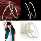 1 Pair Diamond Rhinestone Circle Round Hoop Charm Earring Ear Acupuncture Clasps