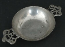 1700's 1800's Antique HALLMARKED American ? PEWTER PORRINGER Marked EC & ROOSTER