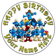 """THE SMURFS FUN PARTY - 7.5"""" PERSONALISED EDIBLE ICING CAKE TOPPER"""