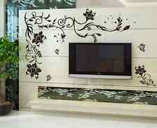 Black Vines TV Wall Paper Decals Sticker Flower Ornament Home Room Decor Wall