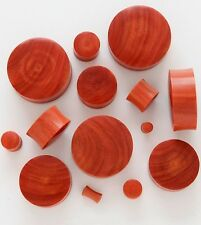 1 Pair (2) 0G Red Saba Organic Solid Exotic Wood Saddle Plugs Ear Gauges 8mm