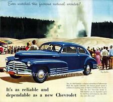 Old Print.  Blue 1948 Chevrolet Fleetline Aero Sedan - auto